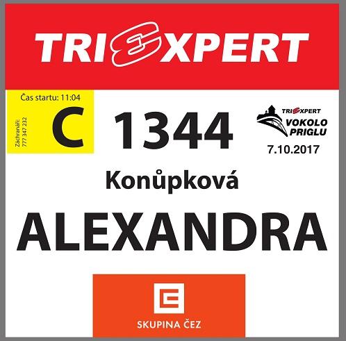"""Startovní číslo vlna """"C"""" TRIEXPERT Vokolo priglu 2017"""